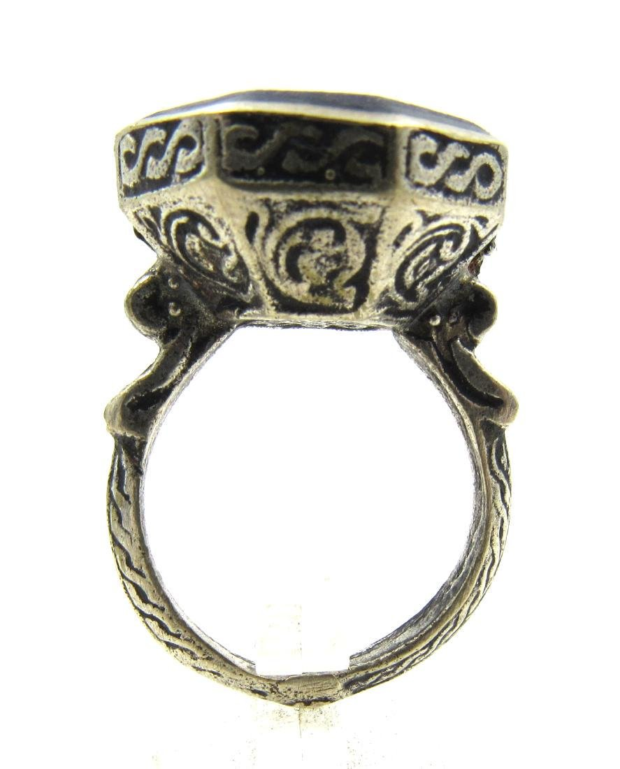 Post Medieval Silver Ring with Warrior on Lapis - 4