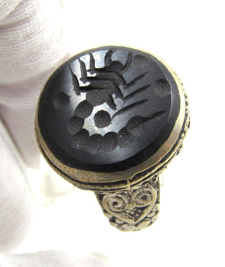 Post Medieval Silver Ring with Scorpion on Intaglio