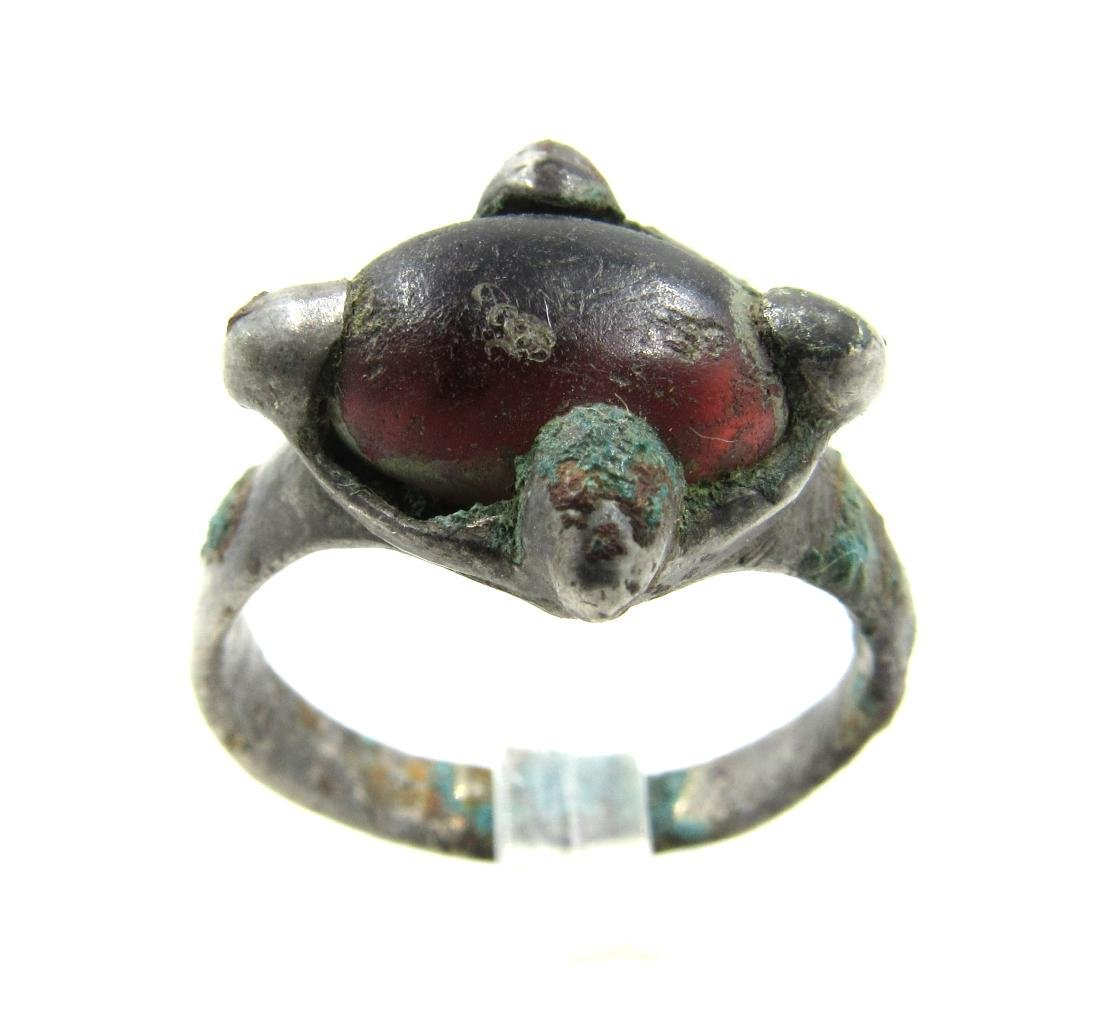 Medieval Viking Era Silver Ring with Glass