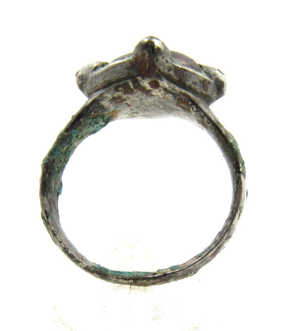 Medieval Viking Era Silver Ring with Glass - 3