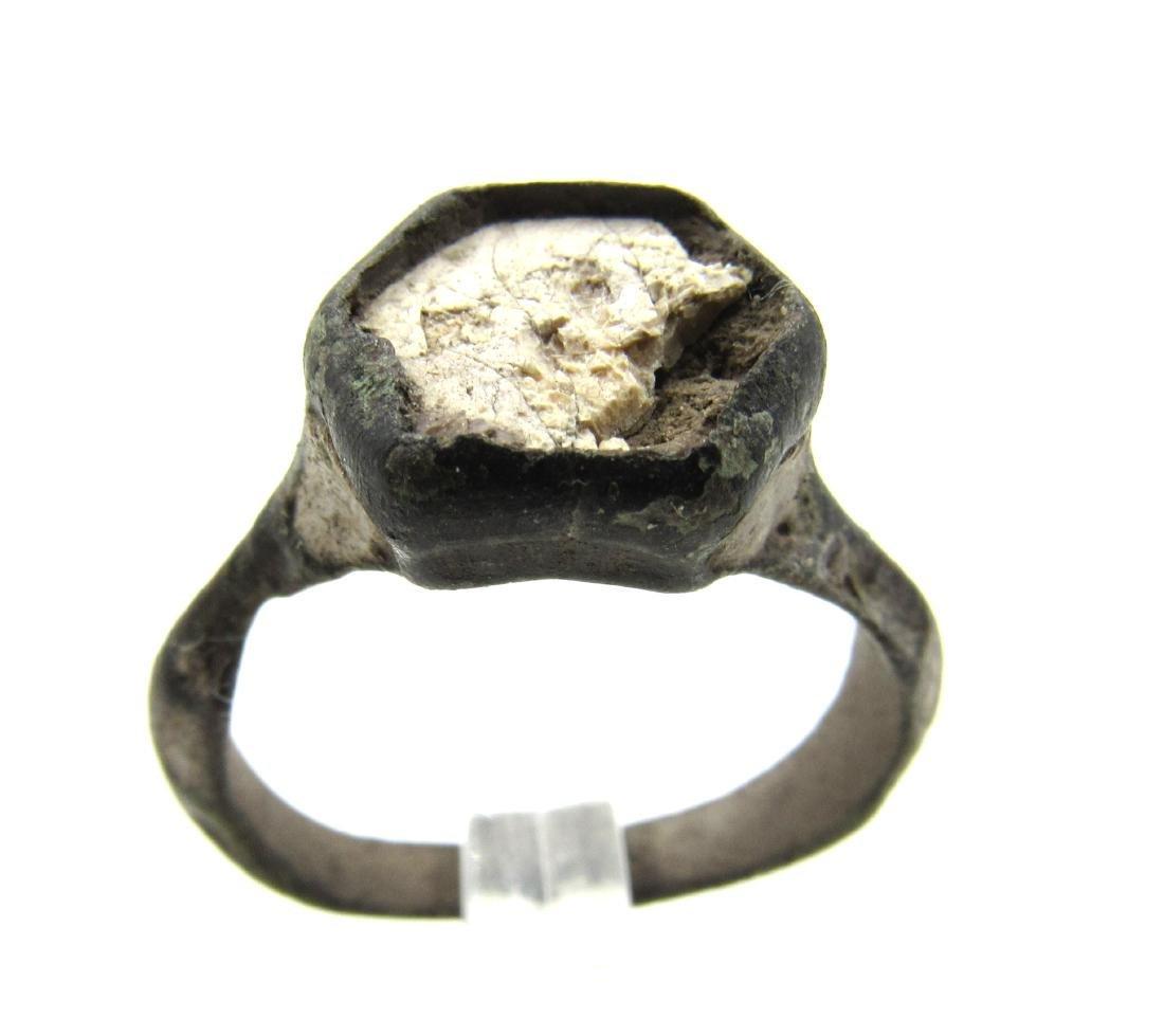 Post Medieval Tudor Era Enamelled Bronze Ring