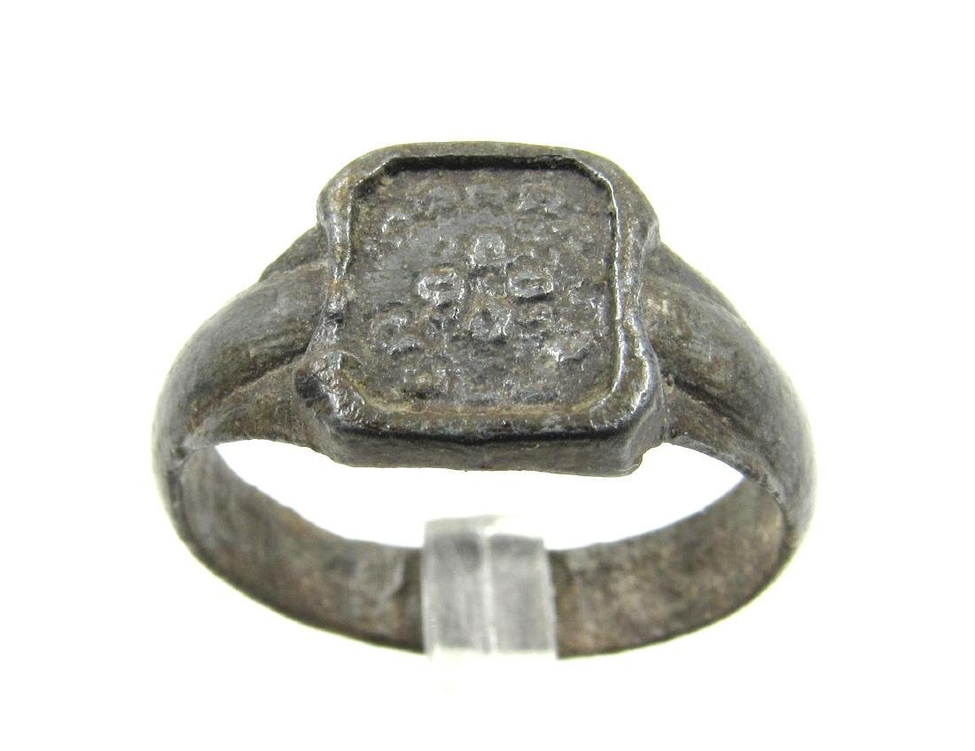 Post Medieval Tudor Era Bronze Ring with Floral Motif