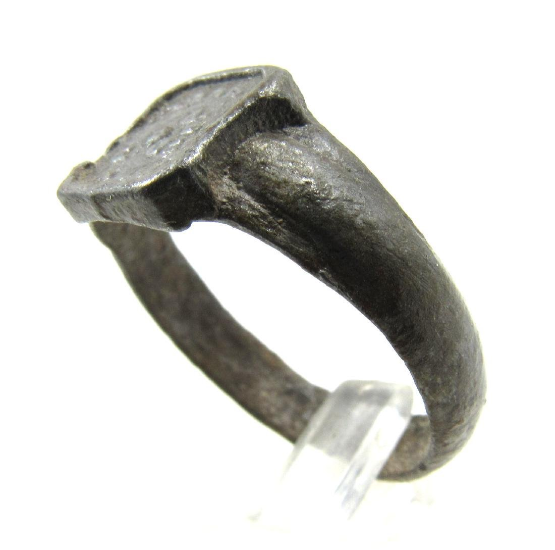 Post Medieval Tudor Era Bronze Ring with Floral Motif - 2