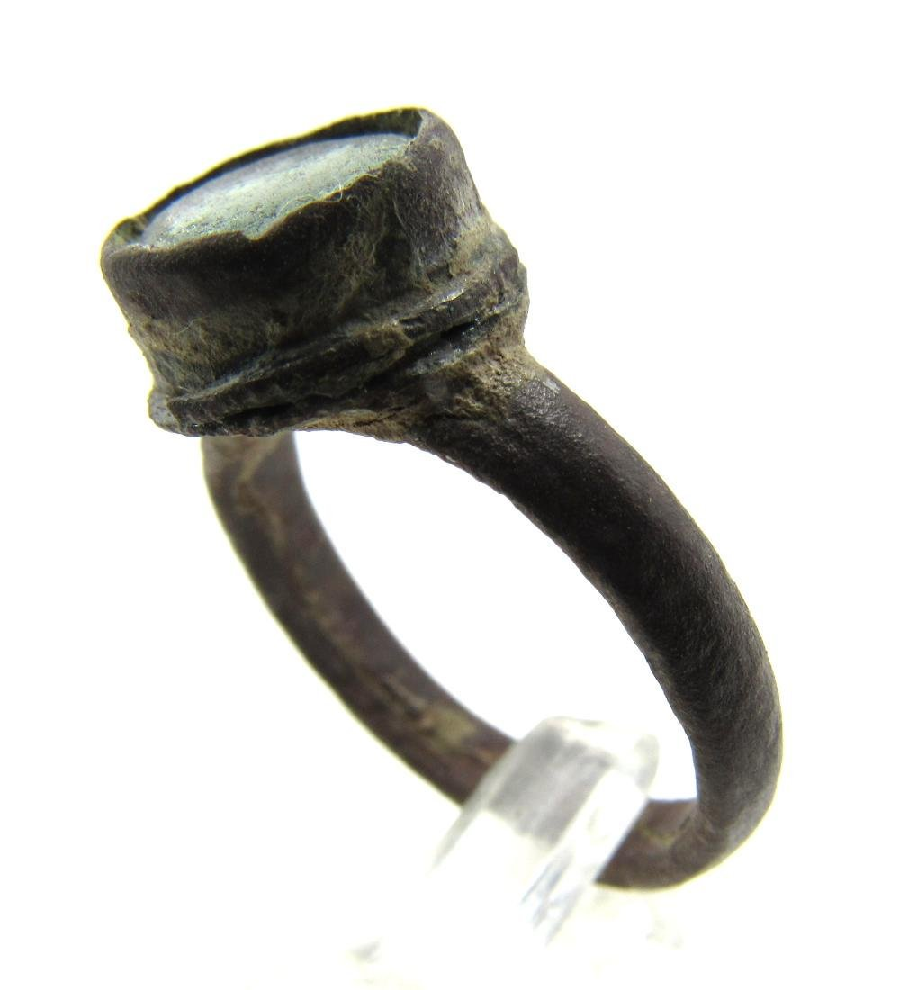 Post Medieval Tudor Era Bronze Ring with Glass - 2