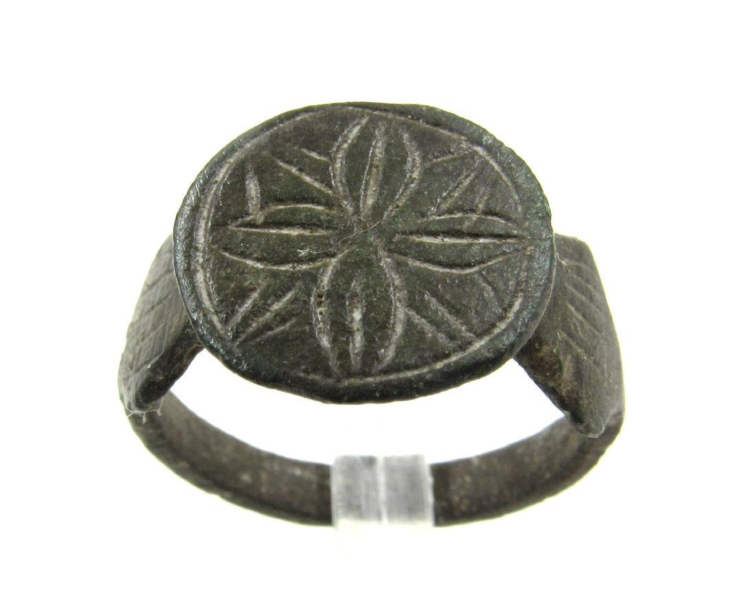 Medieval Crusaders Era Bronze Ring with Star of