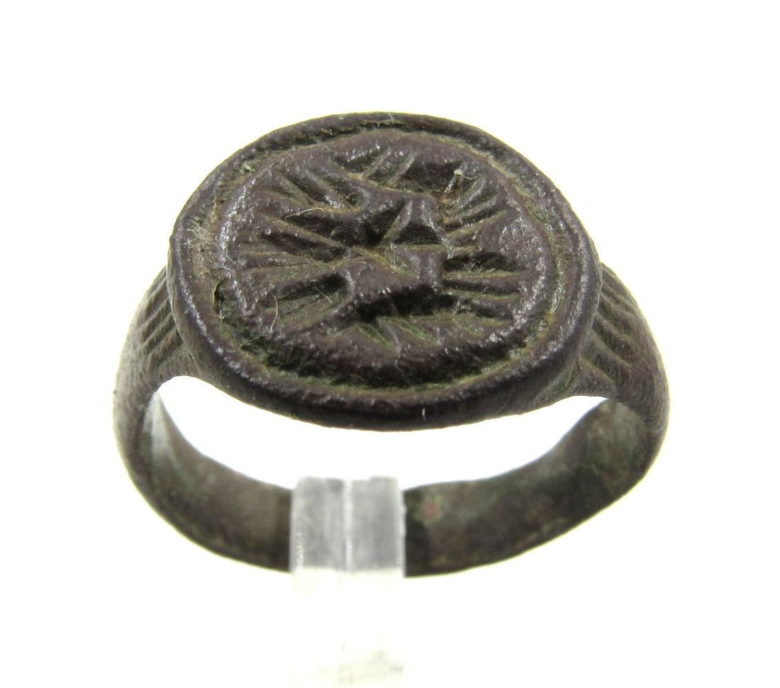Medieval Bronze Seal Ring with Beast Face