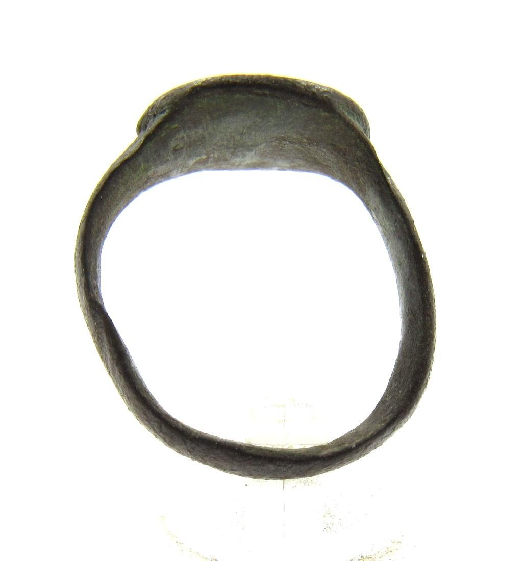 Medieval Bronze Seal Ring with Beast Face - 4