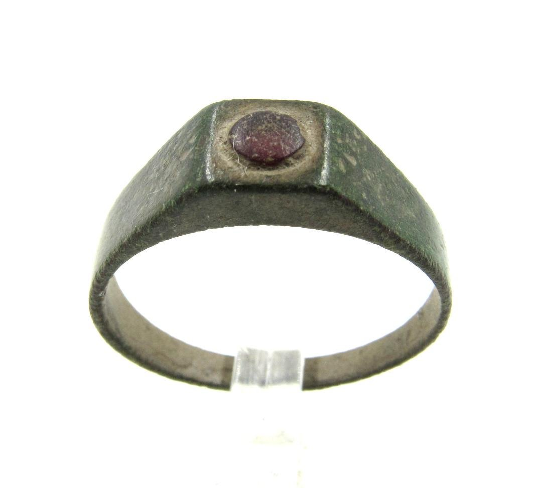 Post Medieval Tudor Era Bronze Ring with Glass