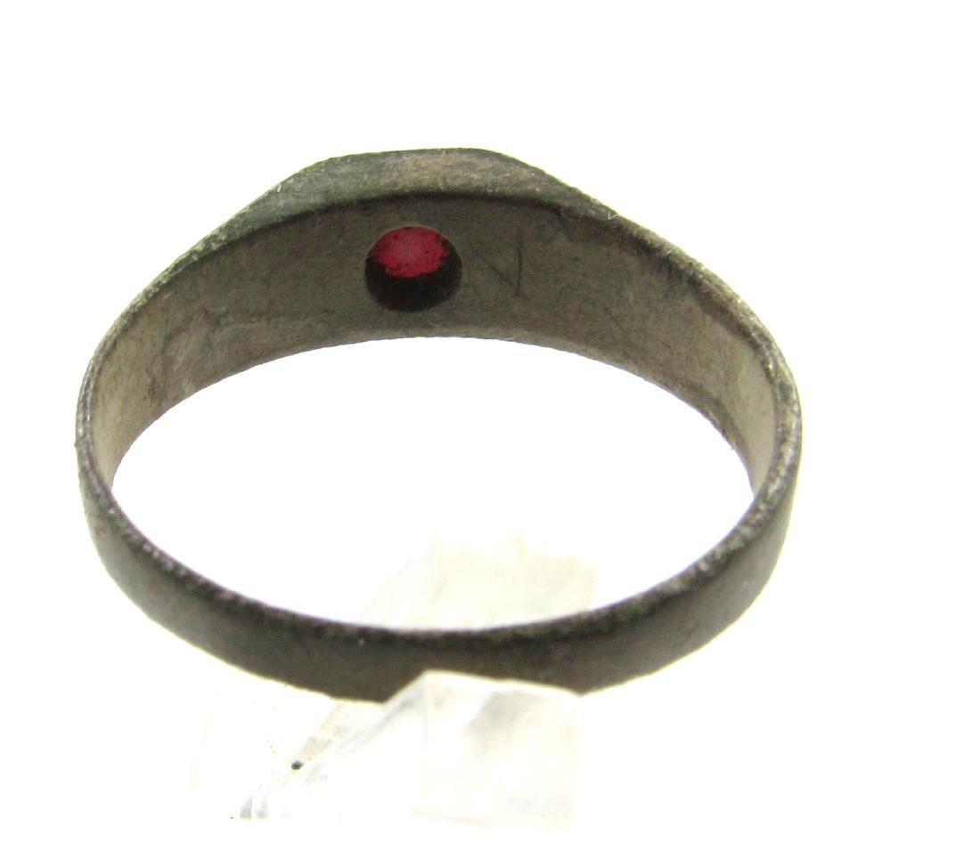 Post Medieval Tudor Era Bronze Ring with Glass - 4
