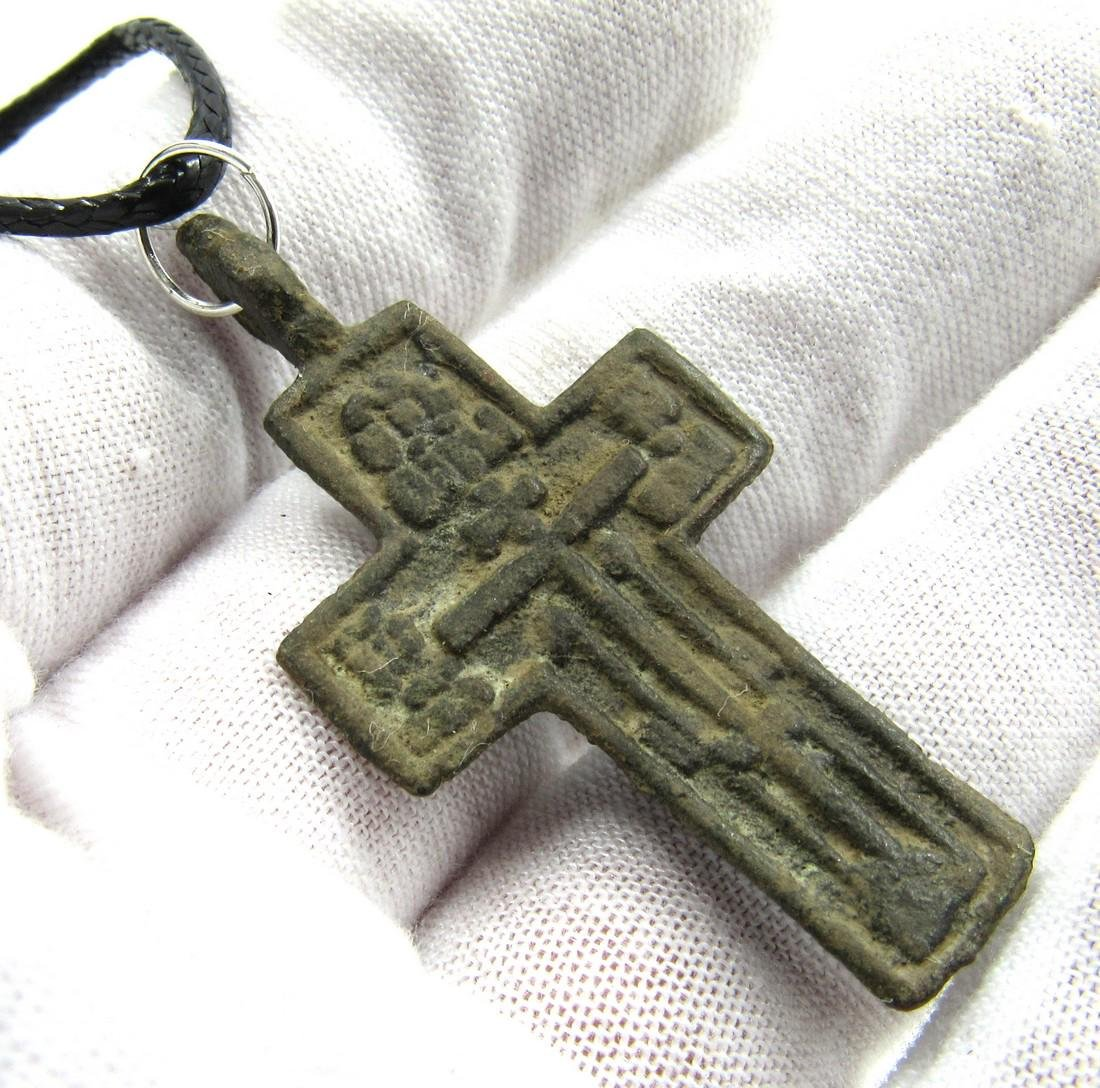 Post Medieval Bronze Cross Pendant - 3