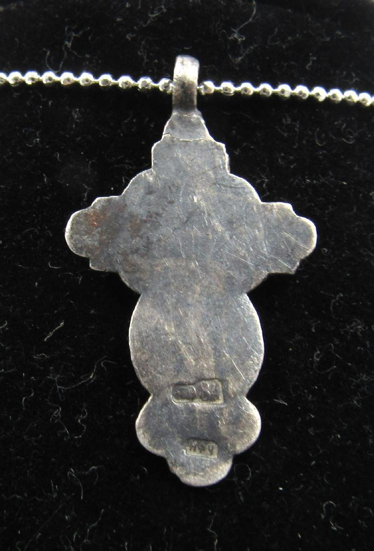 Post Medieval Enamelled Silver Cross Pendant with - 2