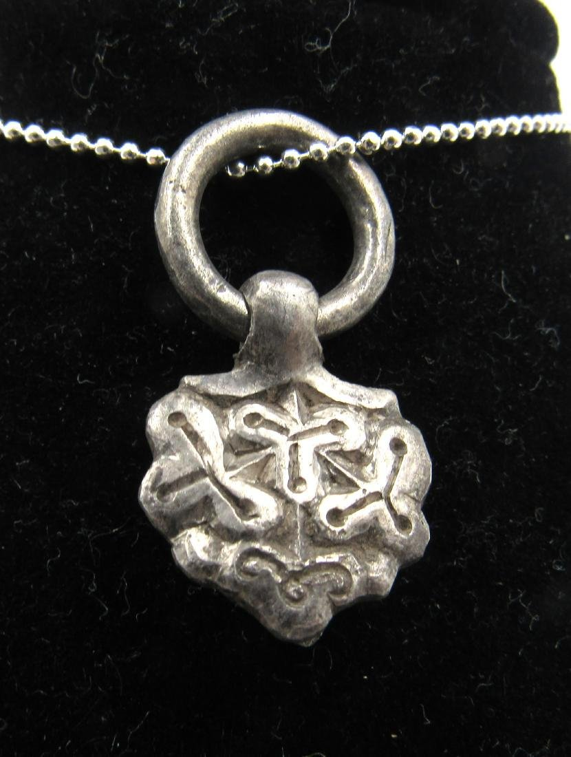 Medieval Viking Era Silver Pendant with Floral Motif