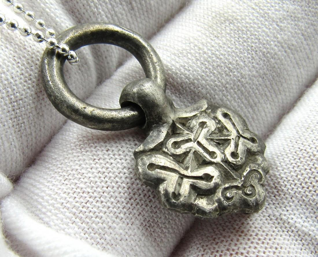 Medieval Viking Era Silver Pendant with Floral Motif - 3