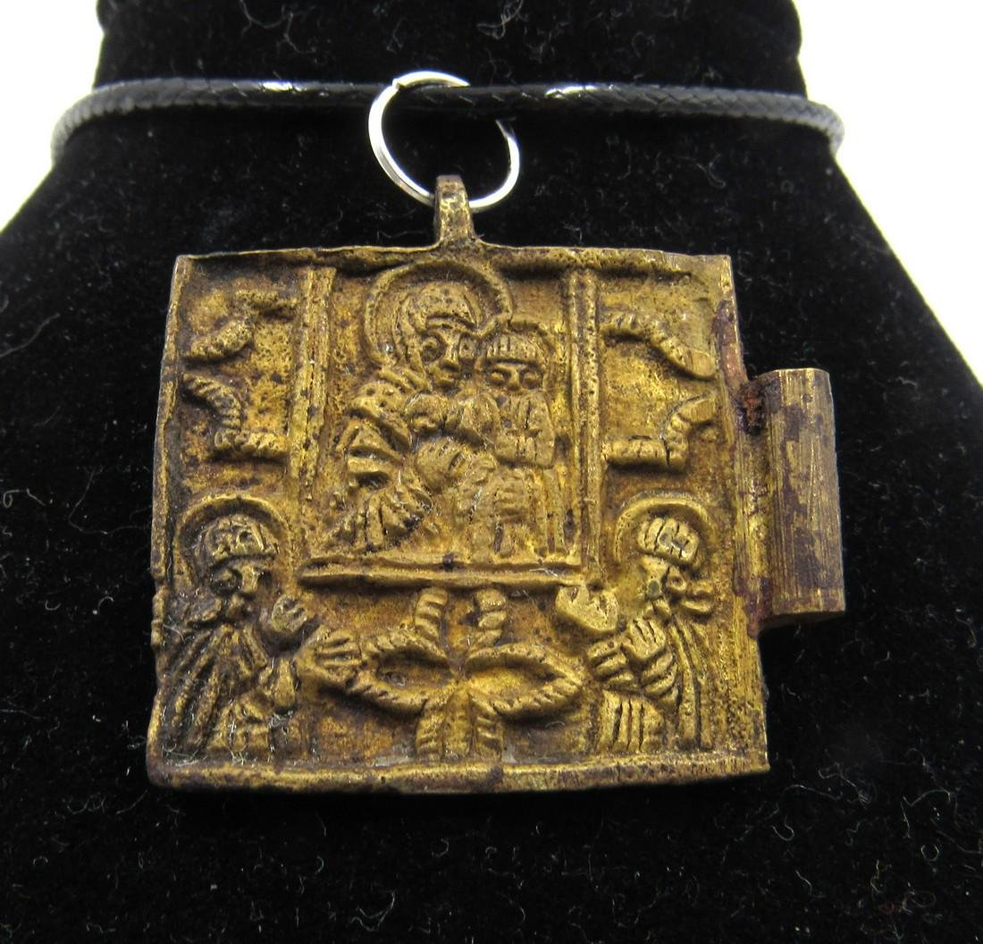 Post Medieval Bronze Icon Pendant with Mary & Jesus