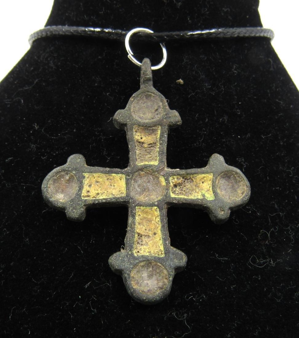 Medieval Viking Era Enamelled Bronze Cross Pendant - 2