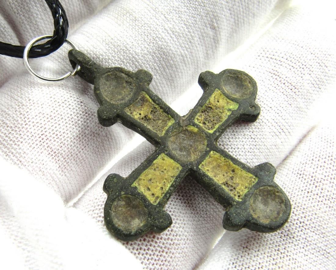 Medieval Viking Era Enamelled Bronze Cross Pendant - 3