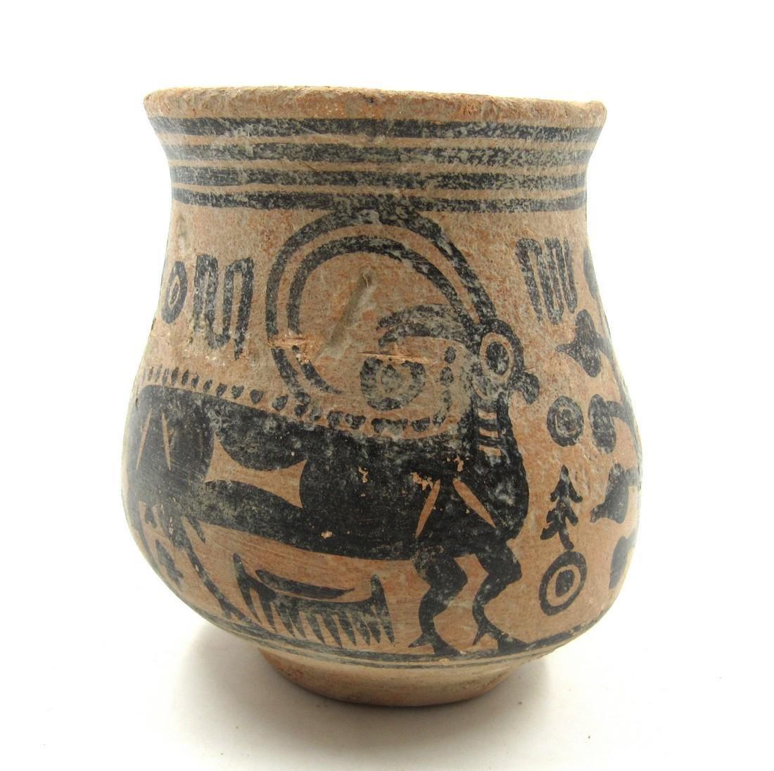 Ancient Indus Valley Terracotta Jar with Deer