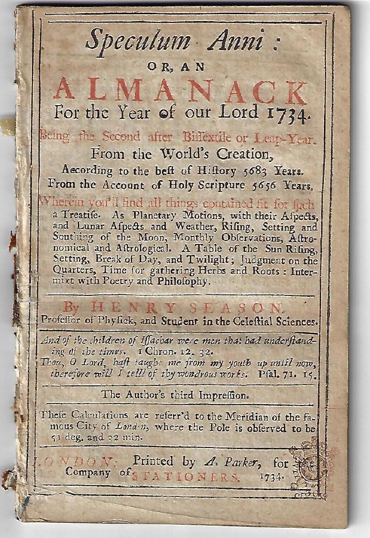1734 English Almanac Speculum Anni