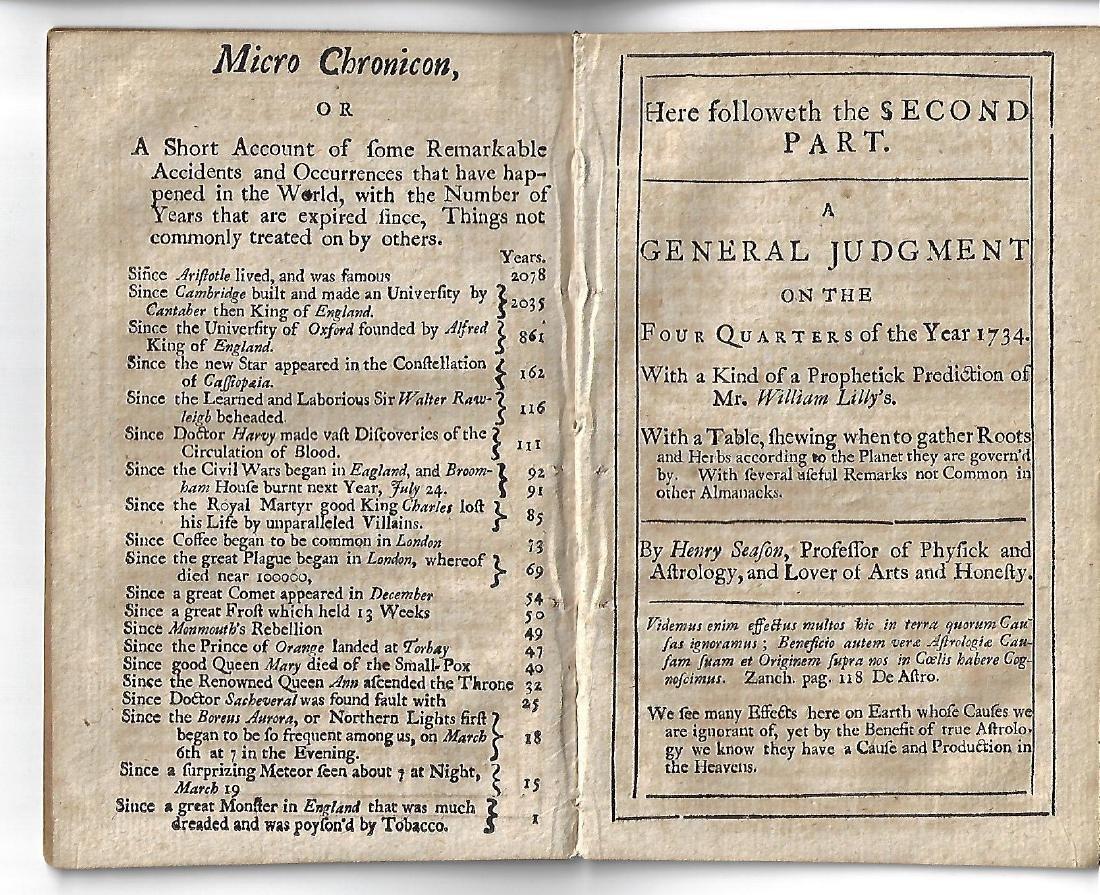 1734 English Almanac Speculum Anni - 2