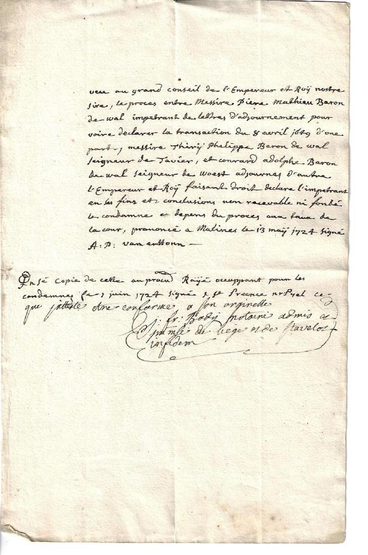 1724 French Manuscript Baron de Wal Liege Sentence