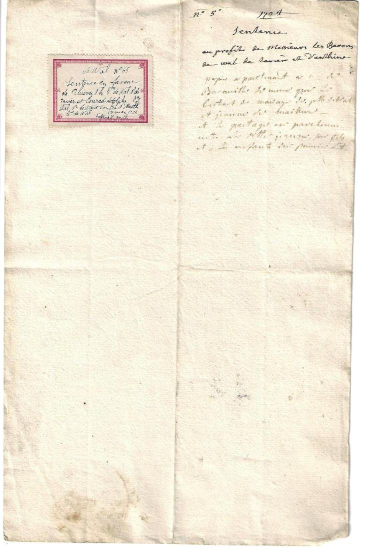 1724 French Manuscript Baron de Wal Liege Sentence - 2