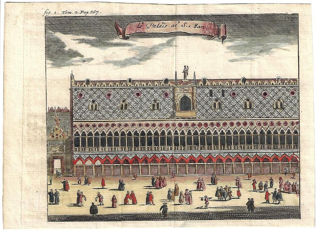 18th C Hand Colored Engraving Venice Palais St. Marc