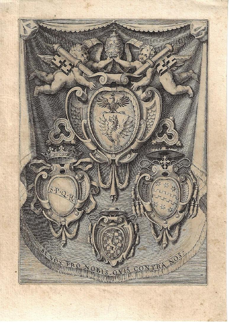 Fine 17th Century Engraving Heraldic Arms