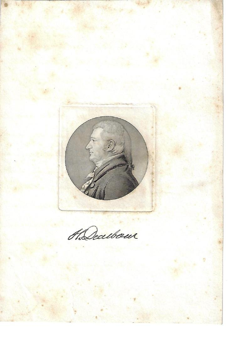 RARE Engraving of Henry Dearborn w/ Original Signature