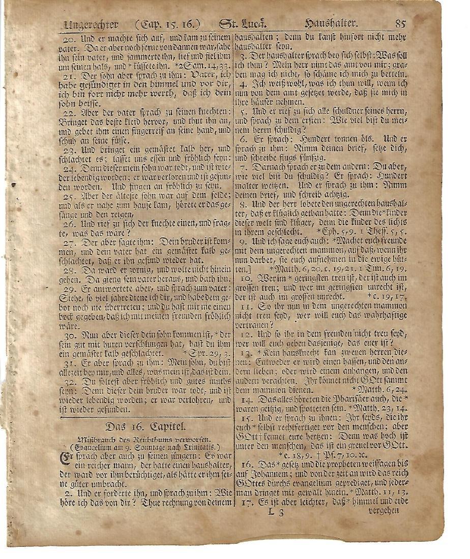 1776 Revolutionary War Bible leaf Germantown Saur