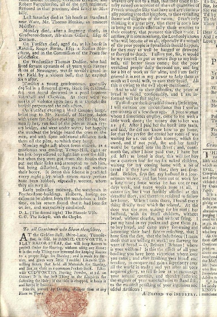 1765 London Chronicle w/ Tax Stamp