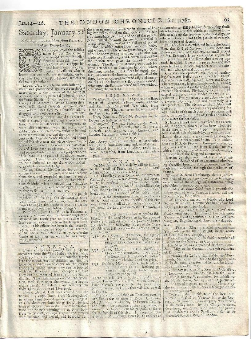1765 London Chronicle w/ Tax Stamp - 3