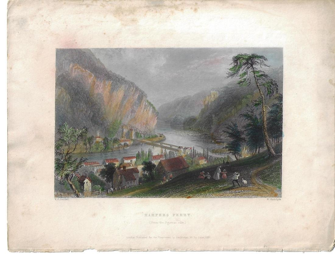 1838 Colored Engraving Harper's Ferry Bartlett
