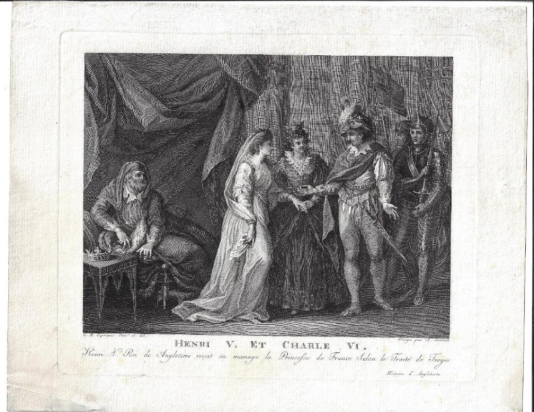 1780 Engraving of Henry V and Charles VI