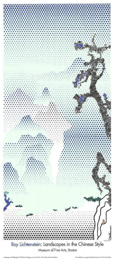Roy Lichtenstein Serigraph Landscape with Philosopher