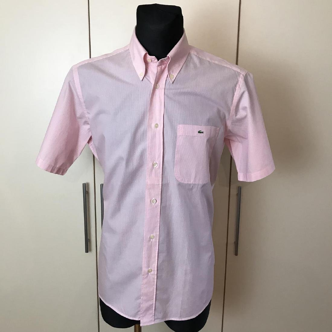 Men's Lacoste Pink Short Sleeve Shirt Top Size US 40