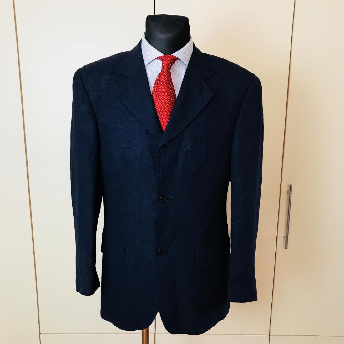 Men's SAND Navy Blue Linen Blend Jacket Blazer Size 38