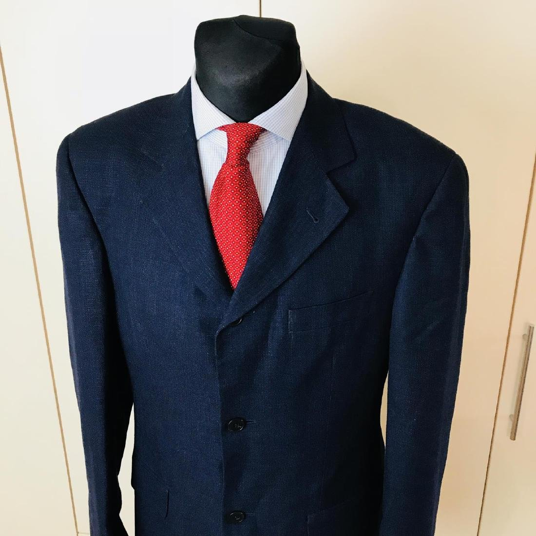 Men's SAND Navy Blue Linen Blend Jacket Blazer Size 38 - 2
