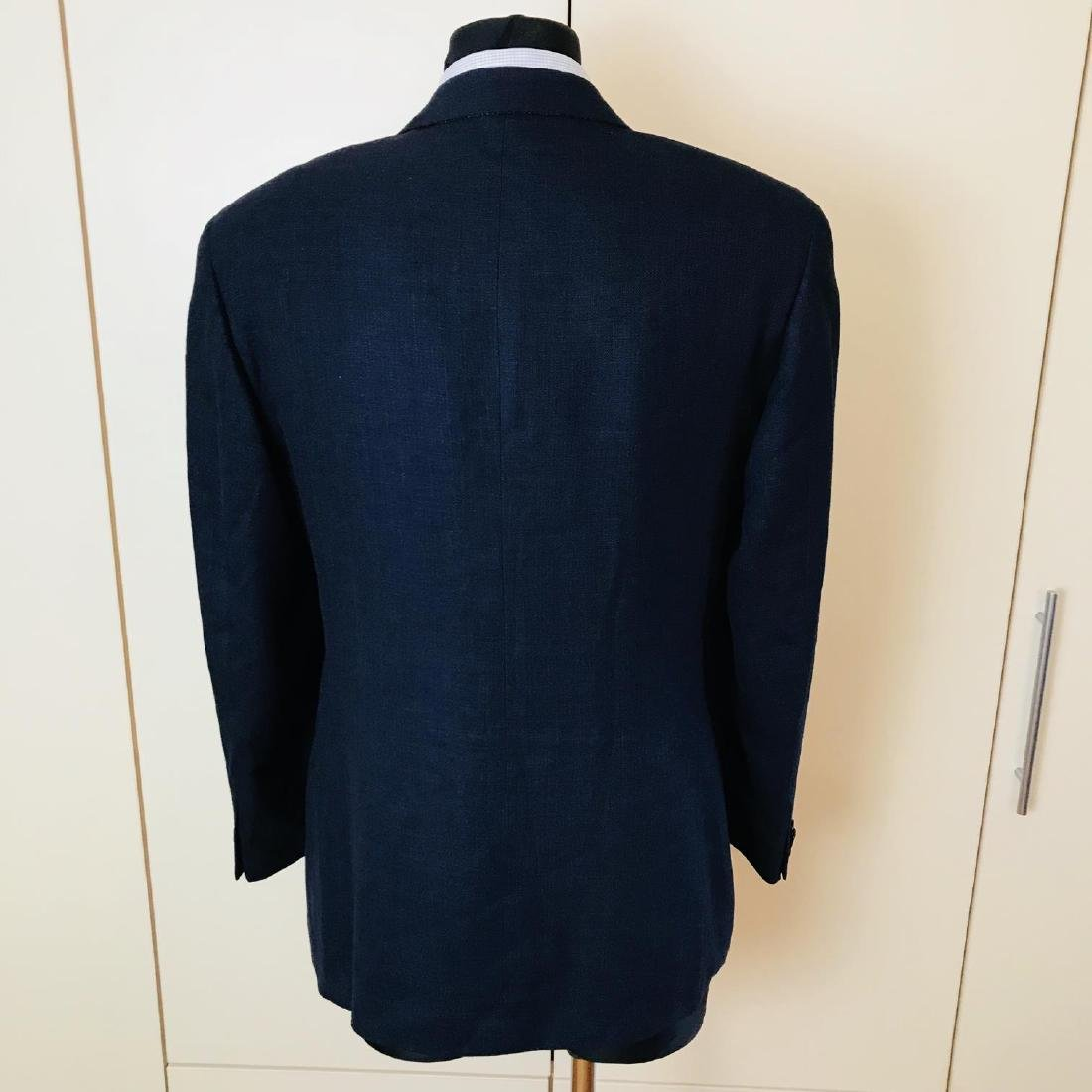 Men's SAND Navy Blue Linen Blend Jacket Blazer Size 38 - 4