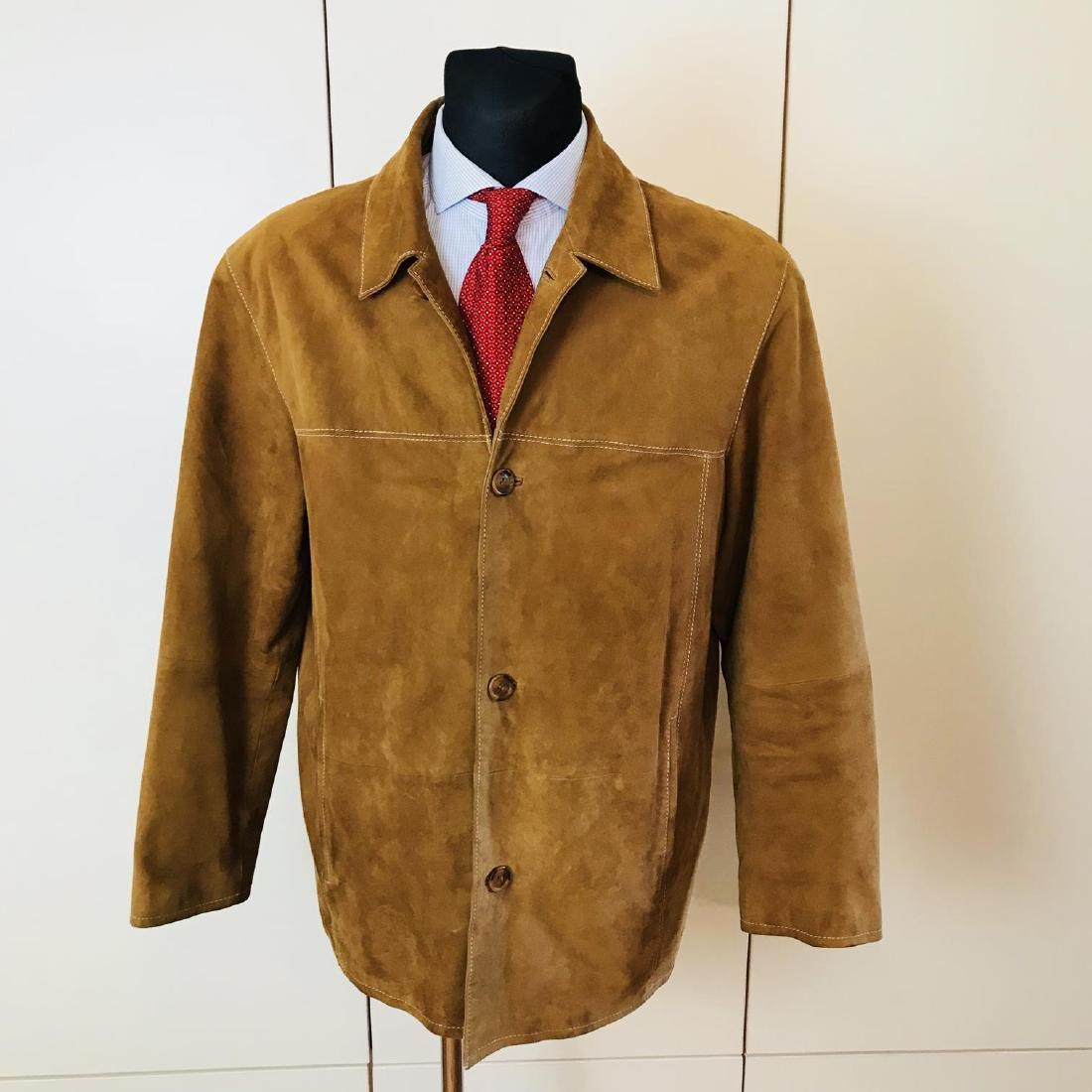 Vintage Men's Brown Suede Leather Jacket Coat Size 40
