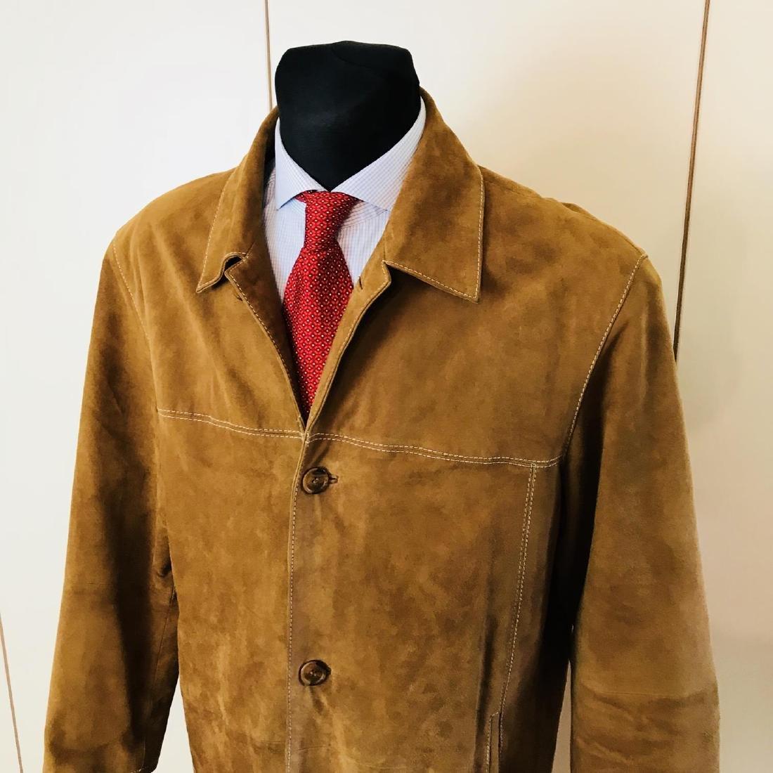 Vintage Men's Brown Suede Leather Jacket Coat Size 40 - 2