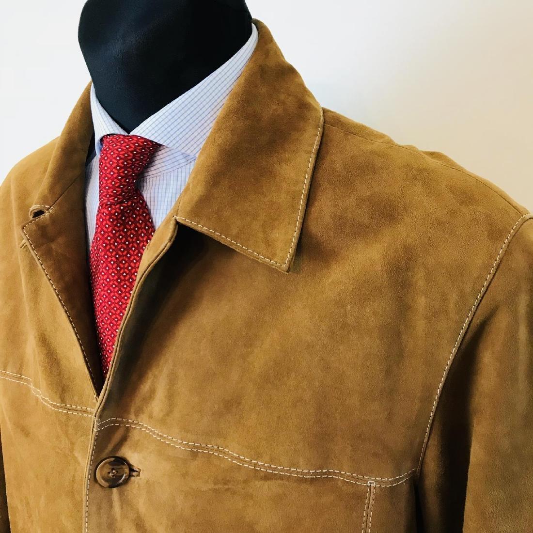 Vintage Men's Brown Suede Leather Jacket Coat Size 40 - 3
