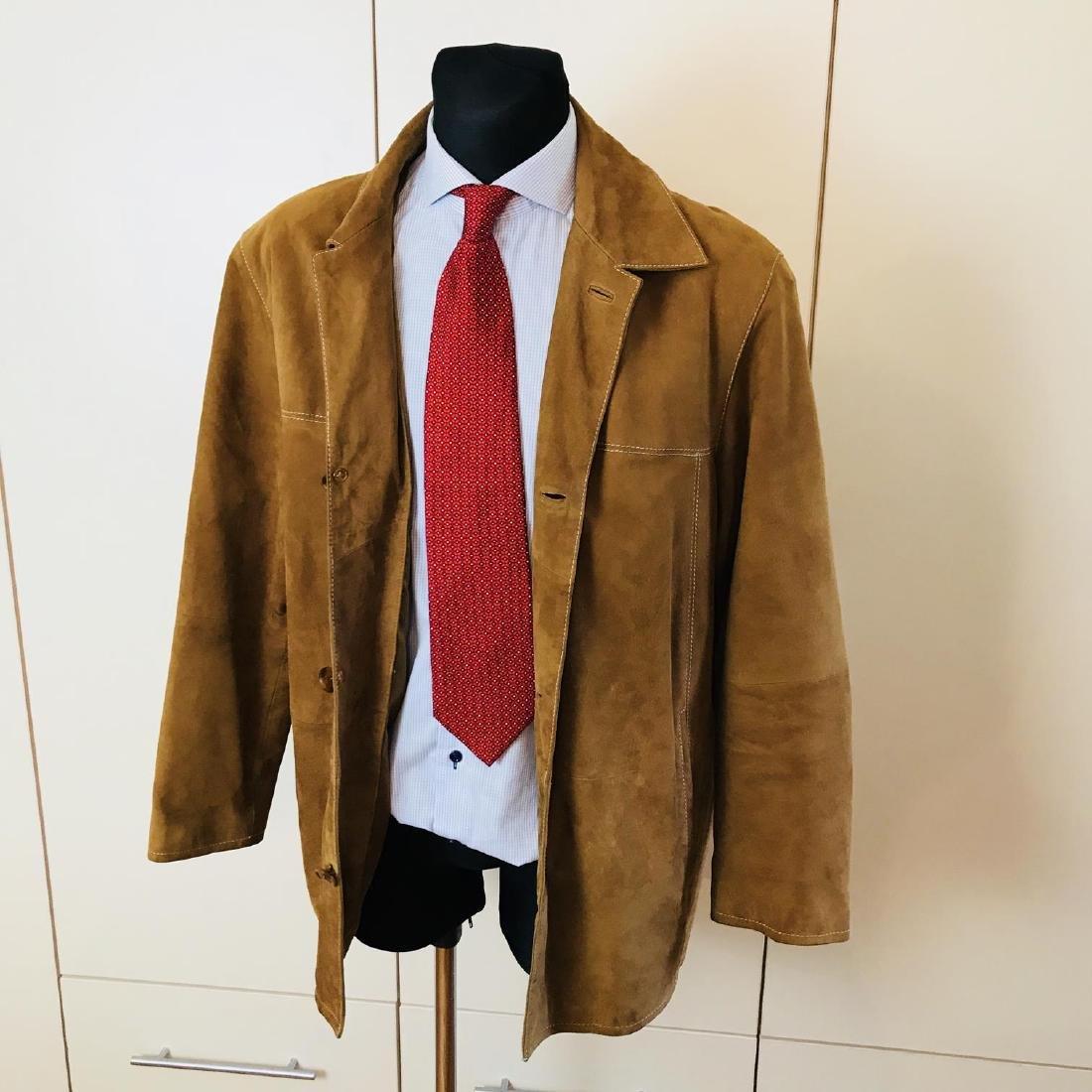 Vintage Men's Brown Suede Leather Jacket Coat Size 40 - 4