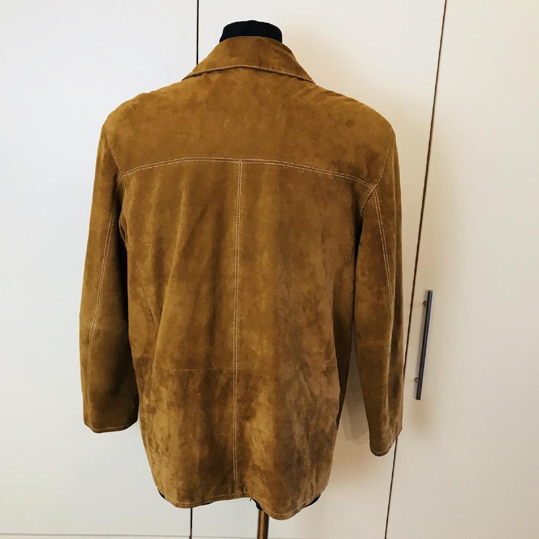 Vintage Men's Brown Suede Leather Jacket Coat Size 40 - 5