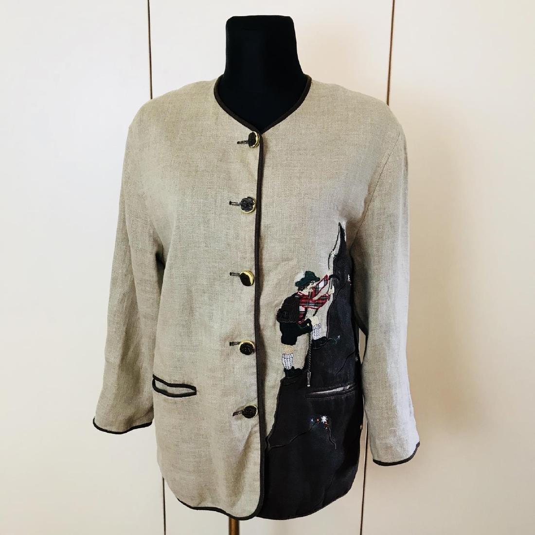 Vintage Women's Linen Tyrolean Style Jacket Size US 20