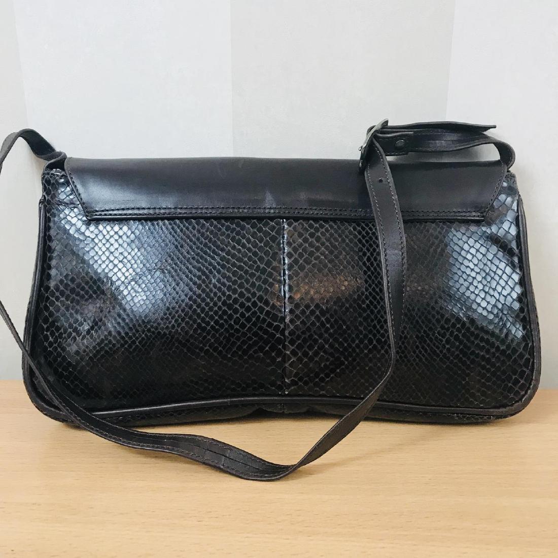 Vintage Brown Snakeskin / Leather Shoulder Bag - 4