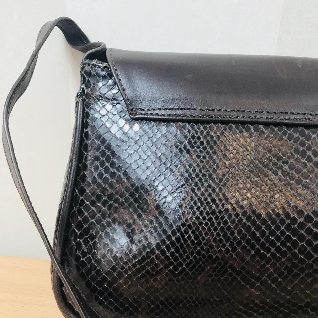 Vintage Brown Snakeskin / Leather Shoulder Bag - 5