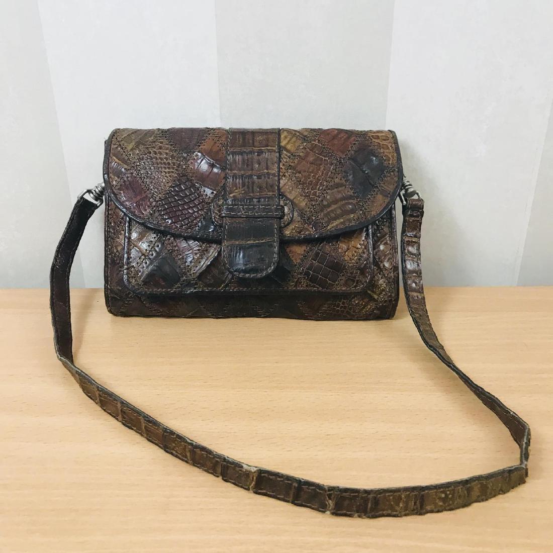 Vintage Brown Crocodile Leather Small Shoulder Bag