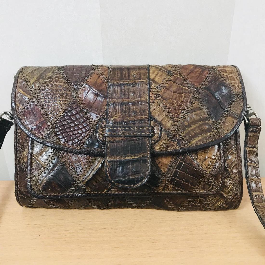 Vintage Brown Crocodile Leather Small Shoulder Bag - 2