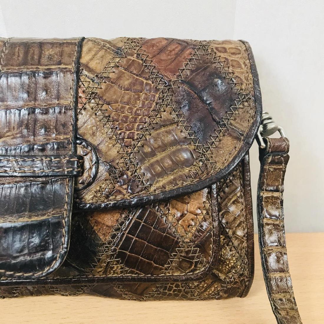 Vintage Brown Crocodile Leather Small Shoulder Bag - 3