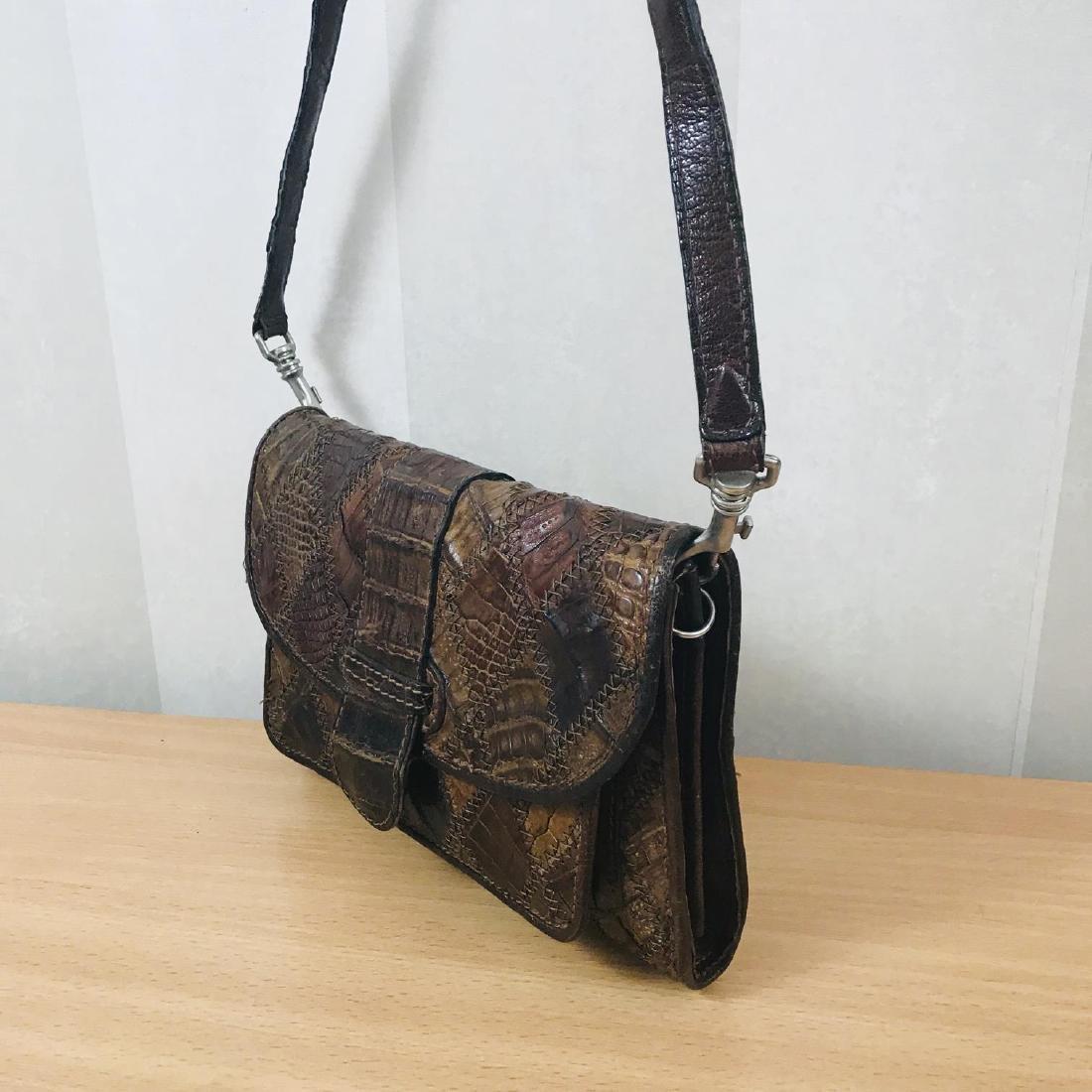 Vintage Brown Crocodile Leather Small Shoulder Bag - 4